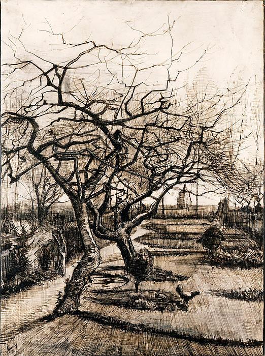 the-parsonage-garden-at-nuenen-in-winter-vincent-van-gogh