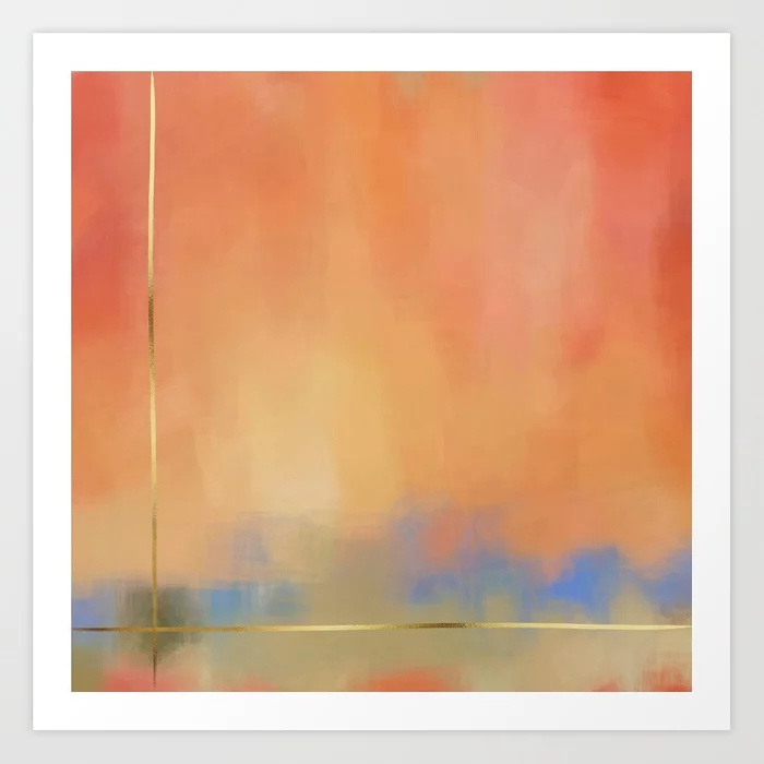 Abstract Landscape With Gold Art Print