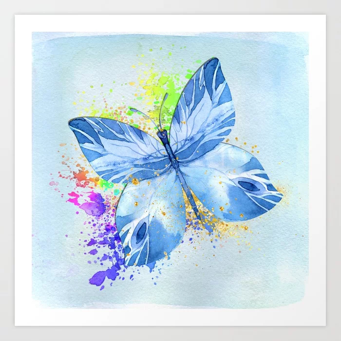 Blue Butterfly Watercolor Rainbow And Gold Art Print