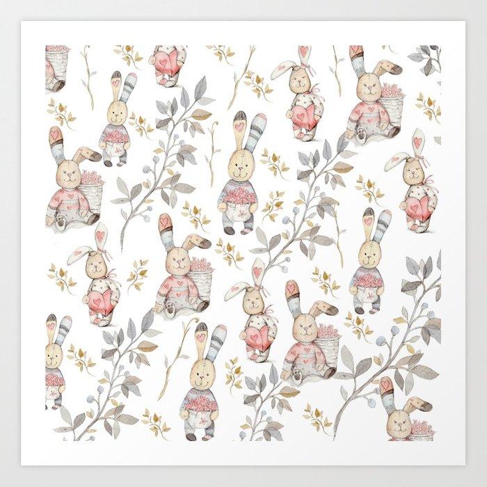 Cute Easter Bunnies Pattern Art Print