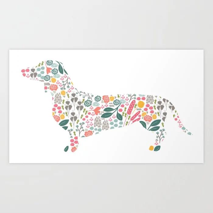 Dachshund Floral Watercolor Art Art Print