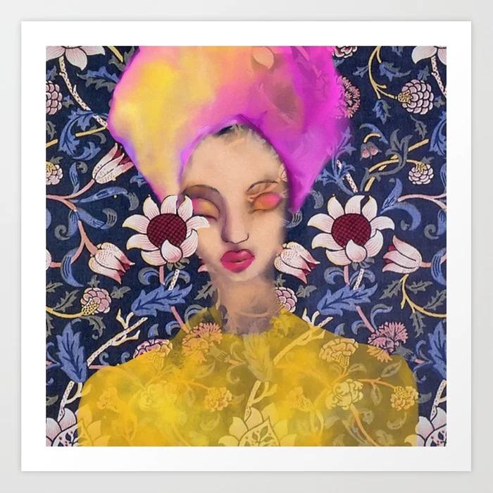 Enchanted Garden Floral Watercolor Portrait Art Print