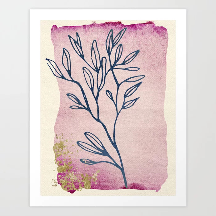 Floral Dream Series: Watercolor, Ink & Gold Art Print