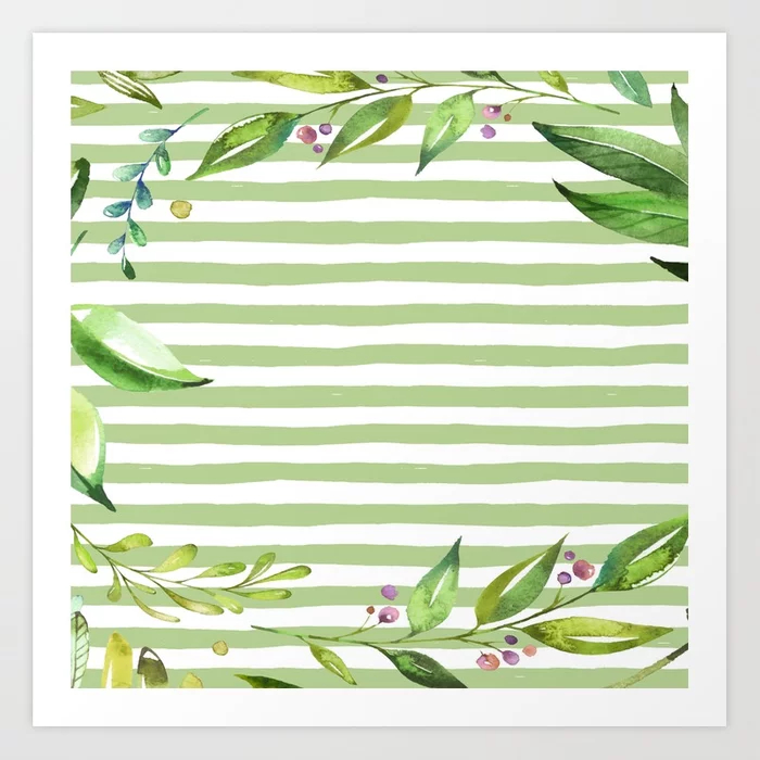 Green Stripes Floral Watercolor Art Print