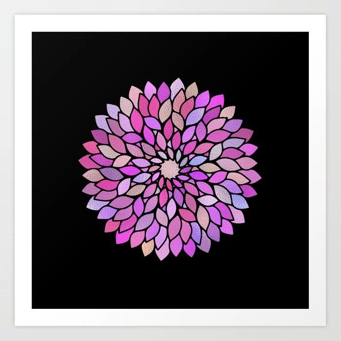 Flower Mandala Rose Gold And Purple Art Print