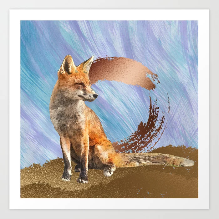 Fox Art With Gold And Copper Art Print