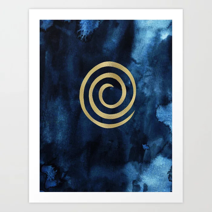 Infinity Navy Blue And Gold Abstract Modern Art Painting Art Print