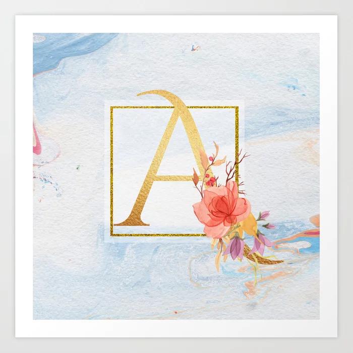 Golden Letter Floral Monogram Art Print