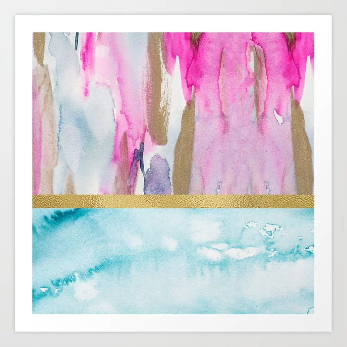 Light Blue, Gold And Pink Abstract Watercolor Art Print