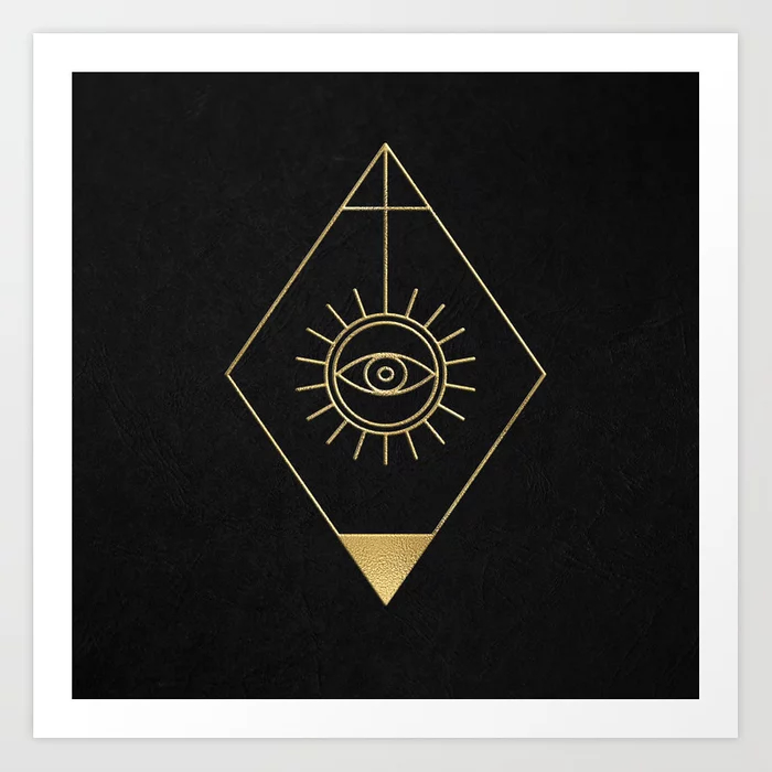 Mystic Eye Symbol Gold And Black Art Print