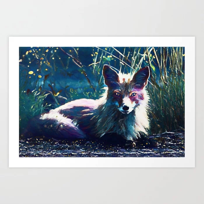 Night Fox Painting Art Print