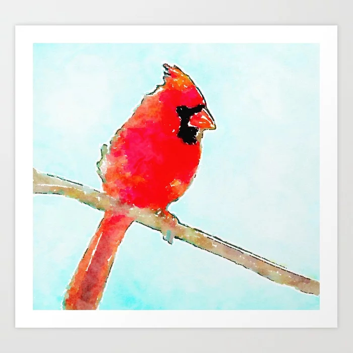 Northern Cardinal Modern Watercolor Art Print