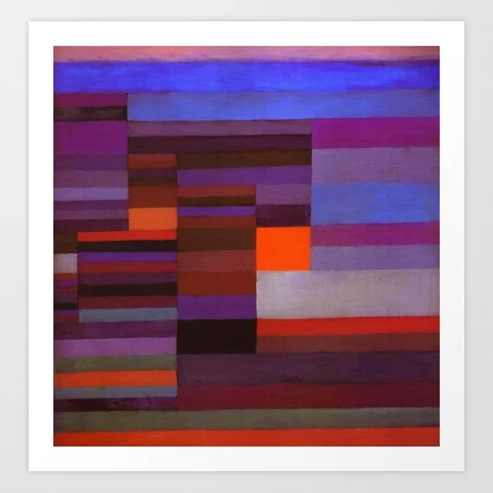 Paul Klee Fire In The Evening Colorful Abstract Art Print