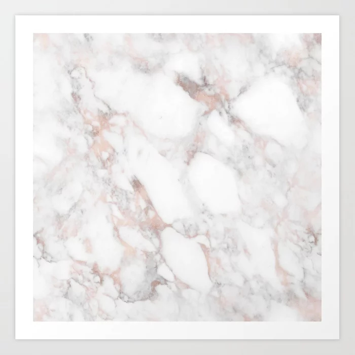 Rose Gold Marble Blush Pink Metallic Foil Art Print