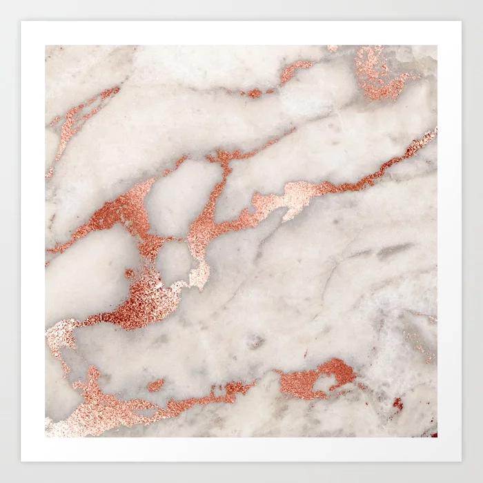Rose Gold Marble Blush Pink Copper Metallic Foil Art Print