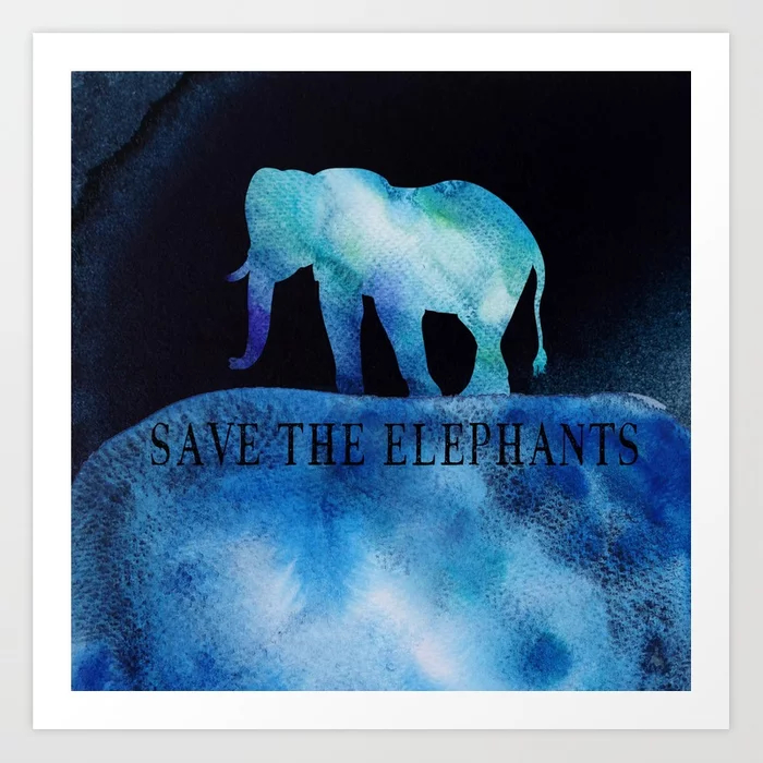 Save The Elephants Watercolor Painting Art Print