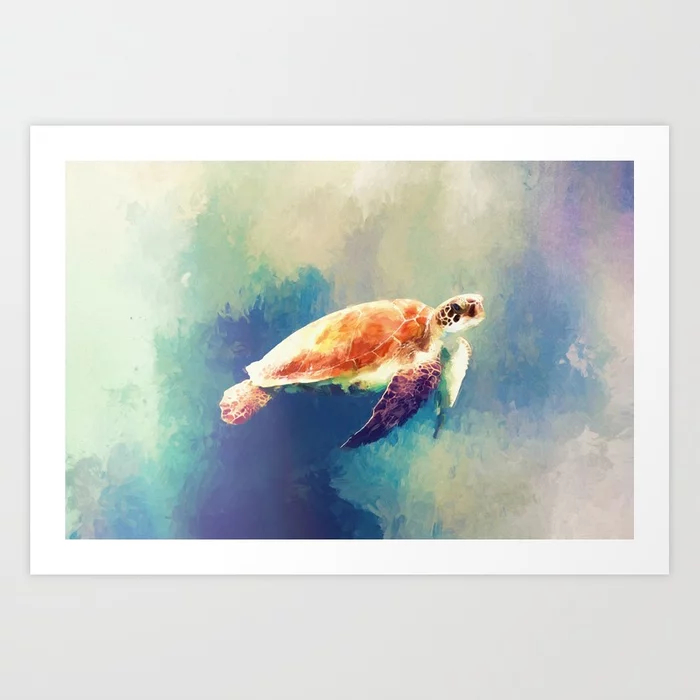 Sea Turtle Painting Art Print