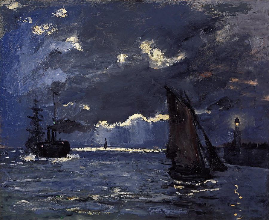 Claude Monet Shipping By Moonlight