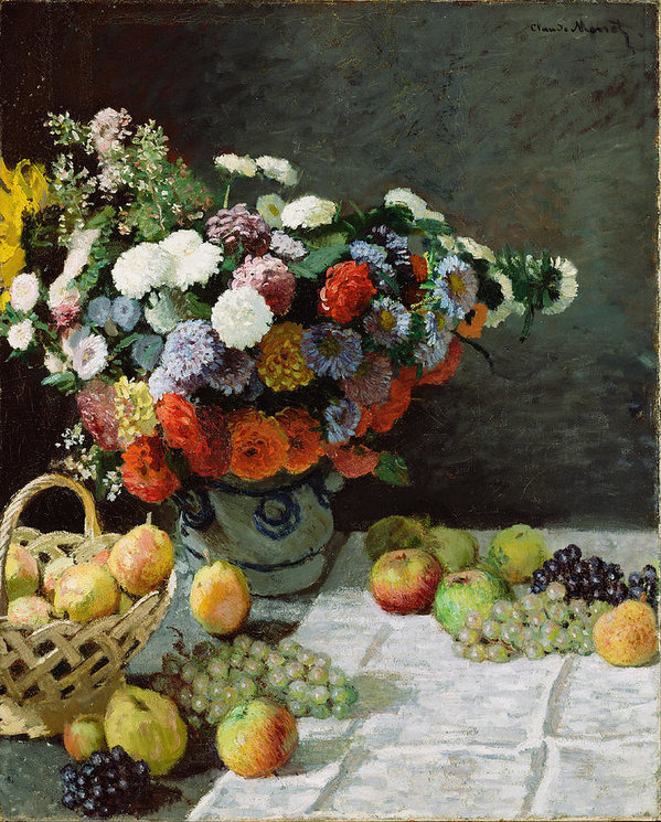 Claude Monet Still Life With Flowers And Fruit