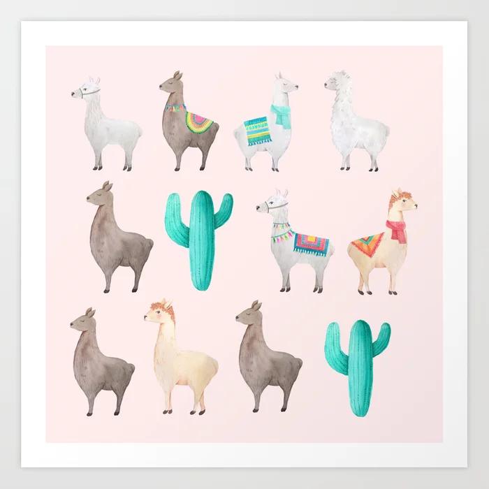 Watercolor Llamas Cactus Pattern Art Print