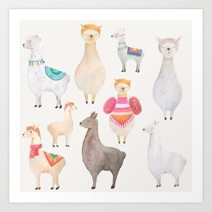 Watercolor Llamas Pattern Art Print