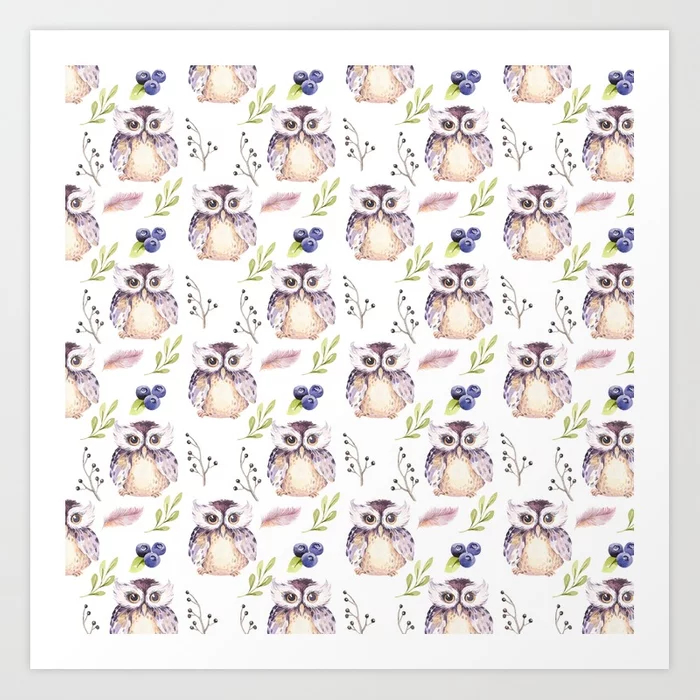 Watercolor Owl Pattern Art Print