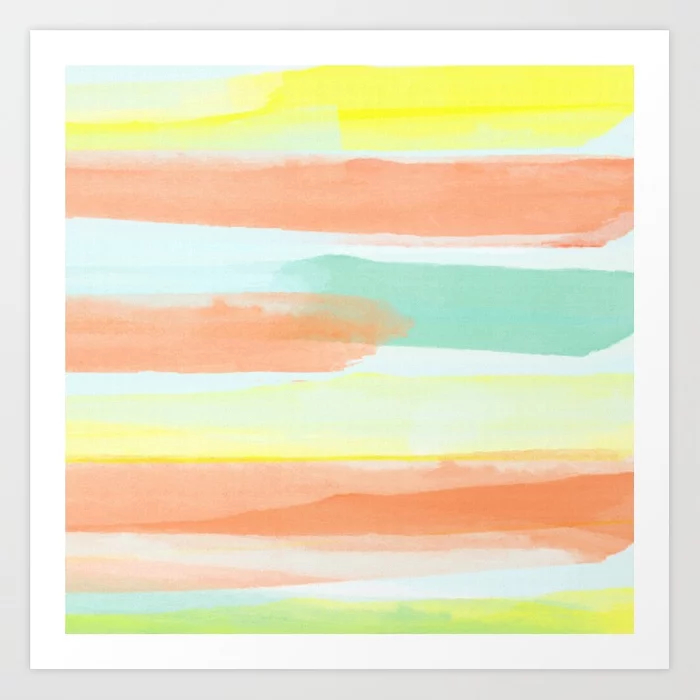 Watercolor Stripes Modern Abstract Art Print
