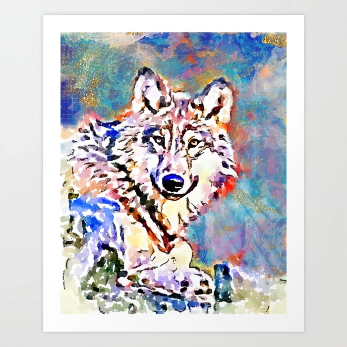Wolf Watercolor Painting Art Print
