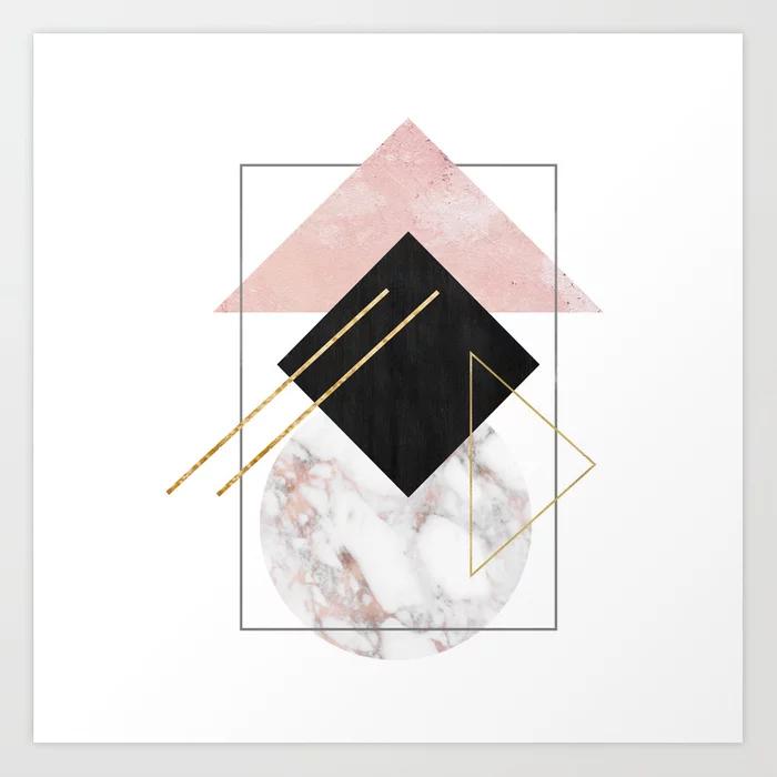 Rose Marble Minimalist Abstract Geometry Art Print