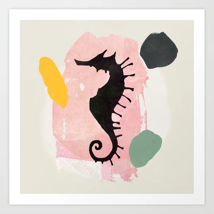 Seahorse Abstract Art Collage Watercolor Painting Art Print