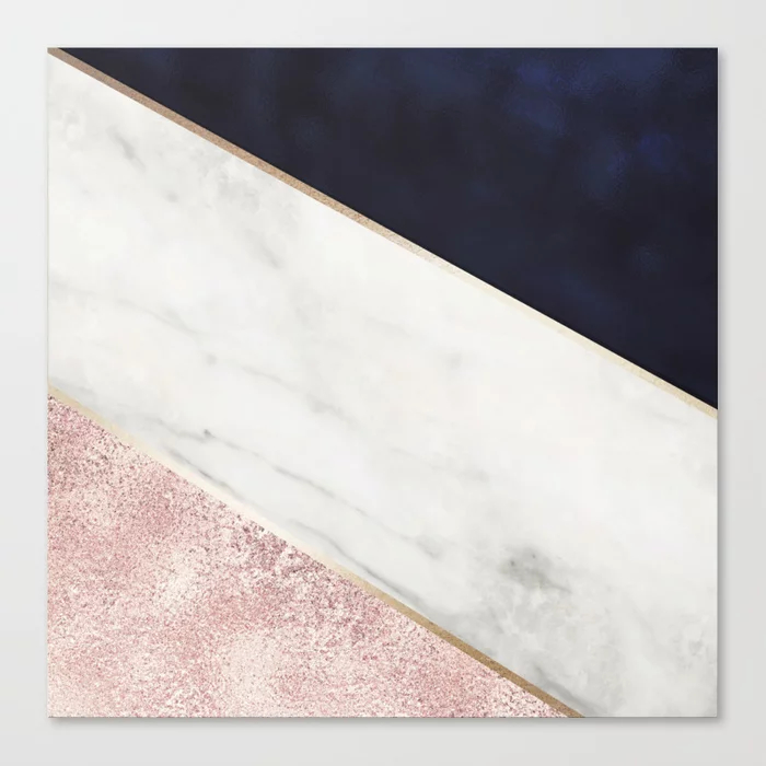 Marble, Rose Glitter, Gold And Navy Blue Abstract Art Canvas Print